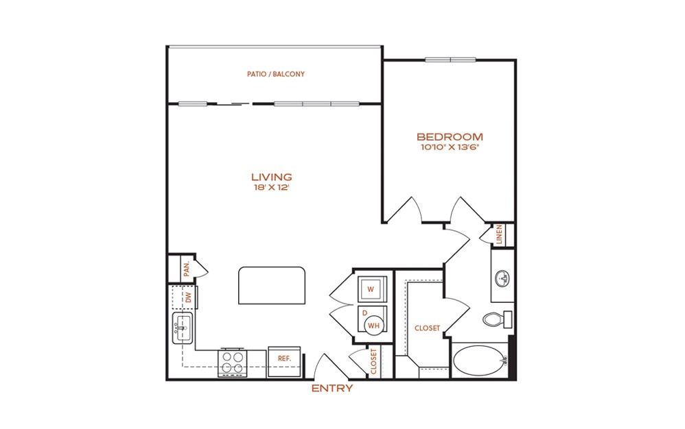 A3 - 1 bedroom floorplan layout with 1 bath and 755 square feet.
