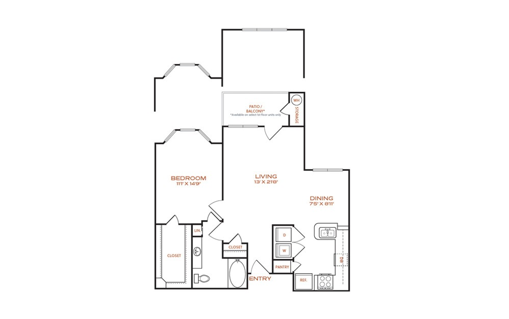 A6-A7 - 1 bedroom floorplan layout with 1 bath and 829 to 891 square feet.
