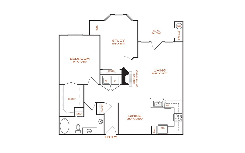 B1 - 2 bedroom floorplan layout with 1 bath and 1000 square feet.