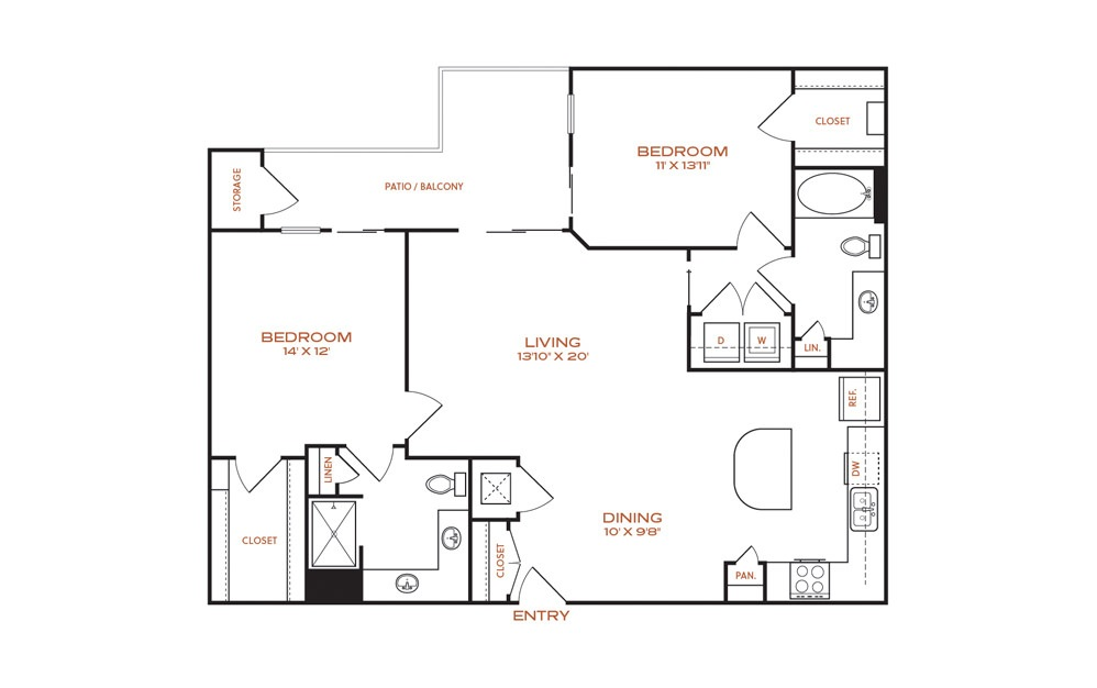 B7-B8 - 2 bedroom floorplan layout with 2 baths and 1214 to 1221 square feet.