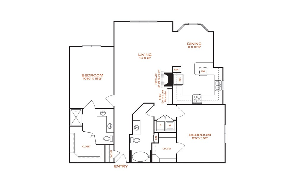 B9 - 2 bedroom floorplan layout with 2 baths and 1331 square feet.
